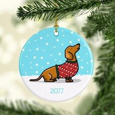 2017 Dachshund Ugly Sweater Ornament- black and tan for Bailey Dachshund Breed, Dachshund Art, Dachshunds, Babies First Christmas, Christmas And New Year, Ugly Sweater, Ugly Christmas Sweater, Sweaters, Holiday Ornaments