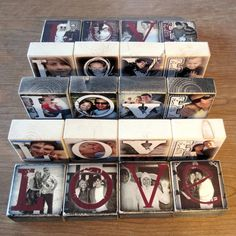 Other Photo Letter Blocks- Recycled Wood Reception Decoration Wood Block Crafts, Wooden Crafts, Photo Projects, Diy Wood Projects, Vinyl Projects, Design Projects, Photo Letters, Diy Gifts For Friends, Photo Blocks