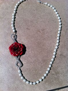 Old Hollywood Glamour Pearl with Red Rose by VividVioletDesigns, $25.00