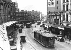 Trams in George Street Sydney. Much simpler times.