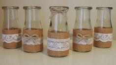 Rustic burlap / Hessian and lace mini milk bottle by chicNrustic   **this is my wedding souvenir inspiration, then I will insert music sheets in it to fit our Rustic and Music themed wedding♥