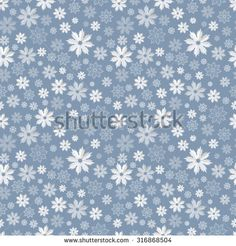 Seamless pattern with translucent snowflakes on a blue-gray background - stock vector