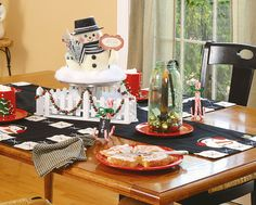 Set off a centerpiece by enclosing it inside some miniature fencing draped with holiday bead garland. Or, tie a trio of candy canes together to create a stand for a chalk-paper place card.
