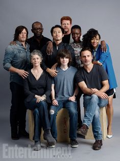 (Standing, l-r) Norman Reedus, Lennie James, Steven Yeun, Michael Cudlitz, Danai Gurira, Sonequa Martin-Green; (seated, l-r) Melissa McBride, Chandler Riggs, Andrew Lincoln, 'The Walking Dead' #EWComicCon Image Credit: Michael Muller for EW