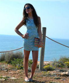 Silvia TURQUOISE BLUE ricamo fantasia
