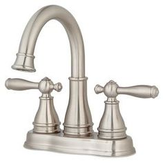 Pfister Sonterra Brushed Nickel 2-Handle 4-in Centerset WaterSense Bathroom Sink Faucet (Drain Included)