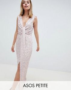 Browse online for the newest ASOS DESIGN Petite drape knot front scatter embellished sequin maxi dress styles. Shop easier with ASOS' multiple payments and return options (Ts&Cs apply). Petite Outfits, Petite Dresses, Dresses For Sale, Petite Clothes, Mode Pop, Short Long Dresses, Drape Gowns, Sequin Maxi, Asos