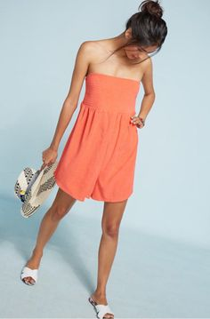 Anthropologie Smocked Strapless Romper by Saturday/ Sunday Coral XS S M NWT    eBay