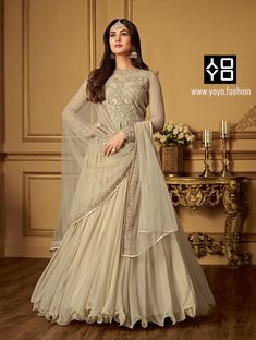 Designer Beige Anarkali Salwar Suit - Diwali Dresses Online in India- YOYO Fashion. Grab the Diwali Sale Up to OFF- Diwali Offers! ✔️🔥What's App Support - 8000588688 Diwali Dresses, Eid Dresses, Indian Dresses, Bridal Dresses, Indian Outfits, Eid Outfits, Bollywood Outfits, Ethnic Gown, Indian Ethnic Wear