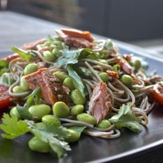 Soba noodles with Reserve Selection Hot Smoked Ocean Trout Blacken Spice. #HuonSalmon