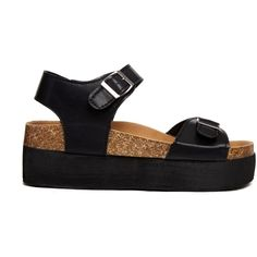 Truffle Flatform Two Strap Flat Sandals (180 HRK) ❤ liked on Polyvore featuring shoes, sandals, black, vegan shoes, black strap sandals, black sandals, black shoes and adjustable strap sandals