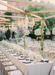 A black and gold wedding along the French Riviera never looked so good! Carla and Walker said I Do in a chateau wedding venue, replete with babys breath floral arrangements, Art Deco paper goods and sparkly bridal fashion, and we cannot get enough. See all the magic on Ruffled wedding blog now! #glamwedding #modernbride #bridalupdo #weddingceremonybackdrop Wedding Ceremony Backdrop, Tent Wedding, Wedding Reception Decorations, Gold Wedding, Wedding Blog, Wedding Ideas, Modern Wedding Reception, Dream Wedding, Stage Decorations