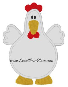 Free Applique Patterns | Chicken Applique Embroidery Design