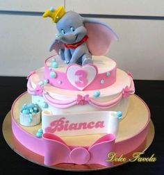 Adorable Pink Dumbo Birthday Cake made by Dolce Favola Dumbo Baby Shower, Elephant Baby Shower Cake, Elephant Cakes, Baby Shower Cakes, Dumbo Birthday Party, 3rd Birthday Cakes, Circus Birthday, Disney Birthday, Circus Party