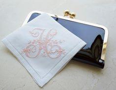 Monogrammed Handkerchief, Linen Handkerchief, Personalized Handkerchief,  Bridal Handkerchief, Wedding Handkerchief