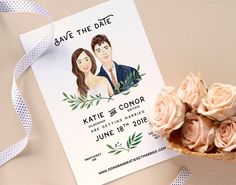 day invitations Custom Illustrated Couple Portrait, Bride & Groom /Personalized Save the Date Card/ One Sided Flat Card/ Printable DIY (Digital File) Wedding Day Cards, Wedding Invitation Cards, Illustrated Wedding Invitations, Invitation Envelopes, Wedding Signs, Invites, Trendy Wedding, Dream Wedding, Formal Wedding