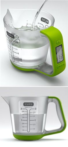 Measure water, milk, flour, sugar, oil and more with this digital scale. The measuring cup detaches, so cleanup's fast and easy.