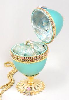 Turquoise Ring Holder Jeweled Wedding Ring Box Turquoise Keepsake Box Home Decor Faberge Style Decorated Goose Egg Art Ornament (110.00 USD) by NatalieOrigStudio