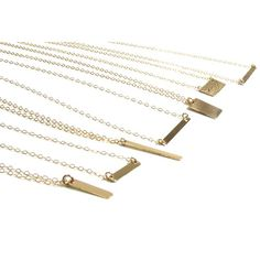 Variety of 14KT Gold Filled, 14KT Rose Gold Filled, Sterling Silver and Solid Yellow, White and Rose Gold bars that make for the perfect layering and every day piece. www.gemsinvogue.etsy.com