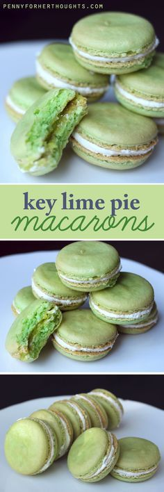 Key Lime Pie Macarons - combining the best of two worlds (pie and macaron delicacies) with a bold, tart-and-sweet flavor of key lime! A creative take on a traditional dessert. Key Lime Pie, Cookie Recipes, Dessert Recipes, Pie Recipes, Sweet Recipes, Macaron Flavors, Macaron Cookies, French Macaroons, Macaroon Recipes