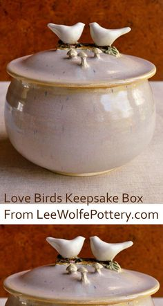 Love Birds keepsake box thrown and sculpted from Lee Wolfe Pottery