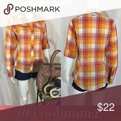 """🆕💥Columbia Button Down💥 Columbia Button Down Size: Small Color: Orange 8 buttons down the front Front is 27"""" (from top of shoulder to bottom of hem) Back is 28"""" (from top of shoulder to bottom of hem) Bust is 19"""" (from armpit to armpit) Roll sleeves up and button them or leave them long 100% Cotton Columbia Tops Button Down Shirts"""