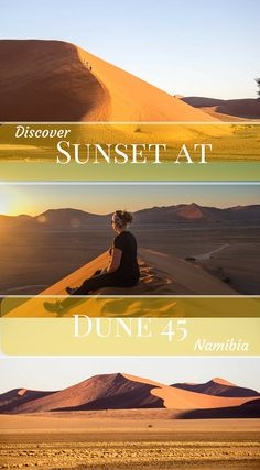 Sunset at dune 45 in Namibia Africa. We were the only people there, most people go to dune 45 for sunrise but sunset is truly the best. With the sun setting over the golden sand duens, Click to read the full adventure travel blog post at http://www.divergenttravelers.com/deadvlei-brings-beauty-namibia/