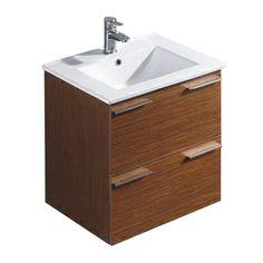 VIGO�24.25-in x 18.375-in Wenge Drop-In Single Sink Bathroom Vanity with Vitreous China Top