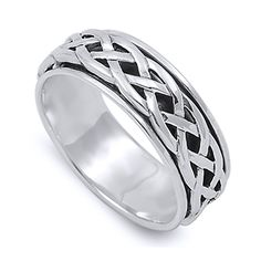 Sterling Silver Wedding & Engagement Ring Celtic Design Spinner Wedding Band 8mm ( Size 4 to 14)