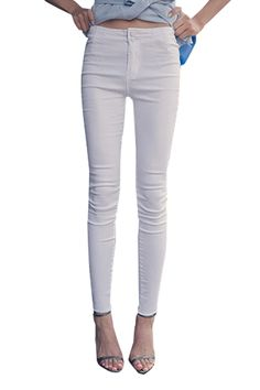 33% OFF Plain Denim Fitted Skinny High Waist Pencil Jeans with Double Buttons