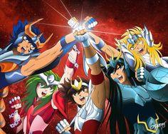 Os defensores de Atena: Ikki,Shun,Seiya,Shiryu e Hyoga!