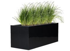 Polyester plantenbak Lotus 100x40x40 cm | Hoogglans antraciet-zwart