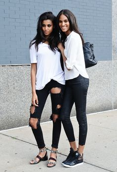 The classic look: White shirt and a black pants, and look how these girls rocking this outfit.