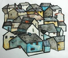 Cityscapes in charcoal, white acrylic an watercolor inspired by Egon Schiele