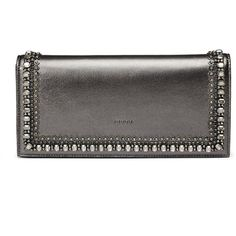 Gucci Broadway Metallic Leather Evening Clutch Bag with Crystals featuring polyvore fashion bags handbags clutches grey evening handbags gucci handbags gucci purses genuine leather handbags gray leather handbag