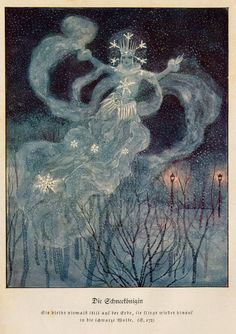 The Snow Queen, from Andersen's Märchen (Andersen's Fairy Tales) edited by Eduard von der Hellen, and illustrated by Artuš Scheiner, 1934 Art And Illustration, Snow Queen, Ice Queen, Andersen's Fairy Tales, Classic Fairy Tales, Fairytale Art, Faeries, Illustrators, Fandom