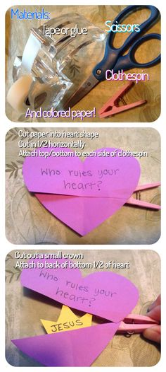 """Who rules your heart?"" clothespin craft. I tried to make the directions short to fit on the images, so if anything is confusing, feel free to ask!"