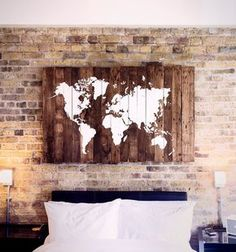 I STRONGLY advice you to order on the appropriate listing for your required size, as they have correct shipping prices.  World map on Wood made with reclaimed pallet boards. Can get used as a Wedding Table Map as well!   NOTES:  - Made with reclaimed pallets boards  - The map is hand painted in white. Due to this, maps wont be 100% accurate.  - Comes ready to hang  - Assembled with screws for maximum strength  - Made to order and usually ship between 2 to 3 weeks  - Due to not two pallets…