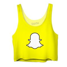 Crop Top- Snapchat (47 AUD) ❤ liked on Polyvore featuring tops, shirts, blusas, yellow crop top, shirt tops, beach shirts, yellow shirt and yellow top