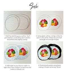 Cheer up Encouragement Greeting Cards Blank Card Watercolor Set of Four Sushi Notecards Stationary Food Illustration