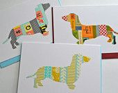 Washi tape card - sausage dog - suwolf on Etsy
