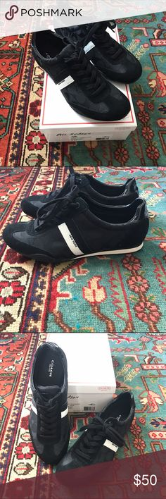 ✨NWB✨ Coach Kourtney tennis shoes Black material with infamous Coach design white stripe on shoe with New York leather detailing. Very comfortable everyday shoe. Coach Shoes Sneakers