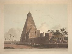 RBSI - The Great Pagoda, Tanjore Plate 24 from the second set of Thomas and William Daniell's 'Oriental Scenery'. The Brihadishvara Temple of Thanjavur was patronised by Rajaraja I of the Chola dyna Om Namah Shivaya, Indian Temple Architecture, Art And Architecture, Sketch Painting, Mural Painting, Temple Drawing, Beautiful Landscape Wallpaper, India Culture, Indian Art Paintings