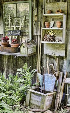 Gardener Photograph - Gardener Corner by Heather Applegate Garden Junk, Garden Shop, Garden Crafts, Garden Art, Shabby, Garden Shed Interiors, Le Hangar, Potting Tables, Potting Sheds