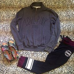 VS PINK quarter zip In excellent condition. No holes rips or stains. PINK Victoria's Secret Tops Sweatshirts & Hoodies