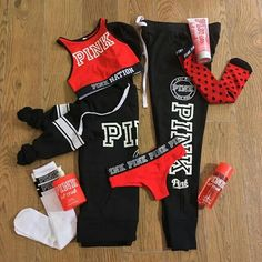 Red and black Pink outfit, Pink black sweats and hoodie, Red sports bra, Pink Pink Outfits, Swag Outfits, Sport Outfits, Cute Outfits, Casual Outfits, Vs Pink Outfit, Teen Fashion, Fashion Outfits, Victoria Secret Outfits