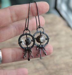 Fhantom quartz earrings raw sterling silver earrings dangling earrings rustic…