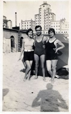 Grandmother, Grandfather and their friend Marie at Long Beach California. The shadow may be Frank Mcmahon. It is about 1930