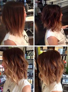 Short Length Caramel Ombre Hair Short-to-Mid-Length-