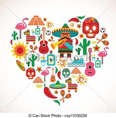 Vector - Mexico love - heart with set of vector icons - stock illustration, royalty free illustrations, stock clip art icon, stock clipart icons, logo, line art, EPS picture, pictures, graphic, graphics, drawing, drawings, vector image, artwork, EPS vector art